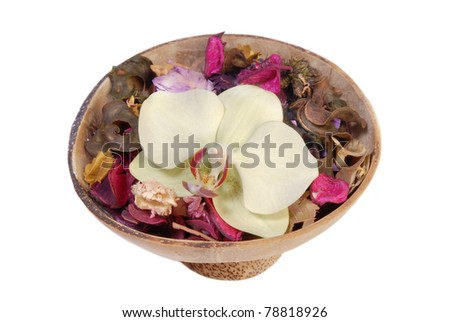 Orchid in wood bowl isolated on white background