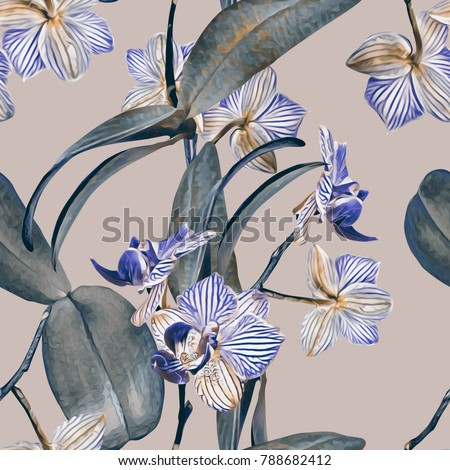 Orchid seamless pattern. Watercolor Illustration. Hand painted background.