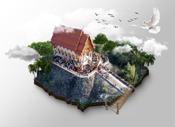 Ordained in religion. 3D graphics, high view.