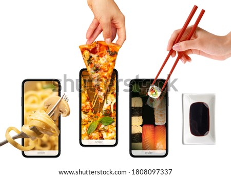Order and deliver food online. Pizza, pasta, sushi. Eat from your smartphone. Gadget on white background