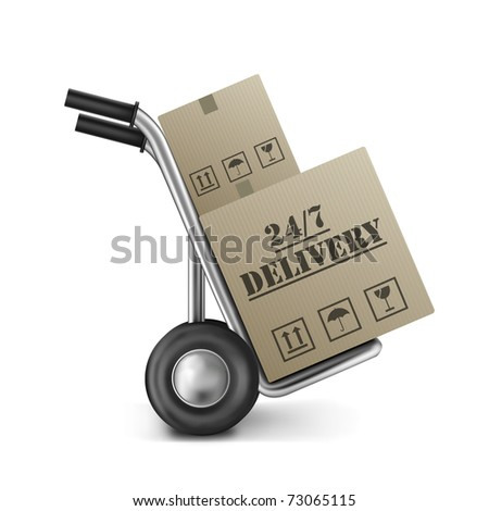 order delivery 24/7 cardboard box package shipping clock round service on hand truck or trolley shipment from online internet store