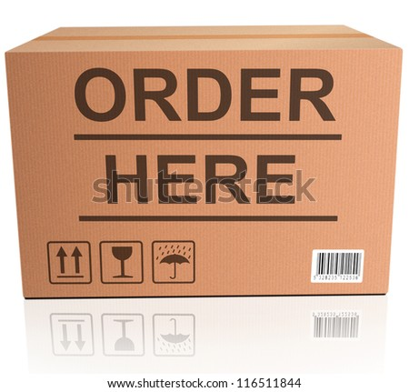 order here webshop icon cardboard box with text online internet web shop illustration