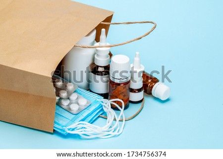 Order medicines online and delivery. Pack of medicines, pills and masks.