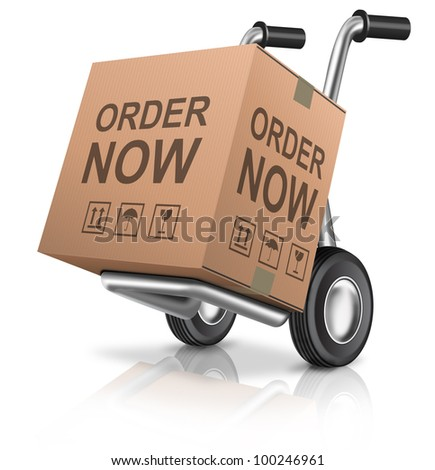 order now webshop icon sales concept online internet shopping web shop sales with cardboard box package with text