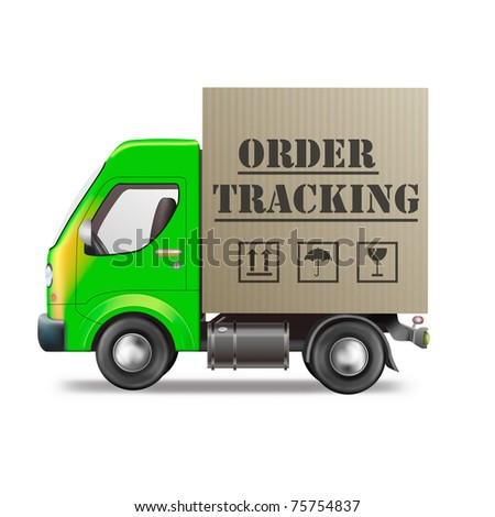 order tracking package from internet shop cardboard box delivery truck isolated on white