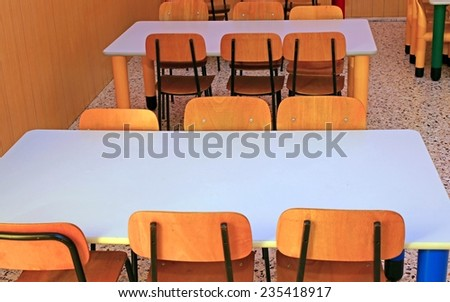 ordered chairs and tables of a refectory in kindergarten