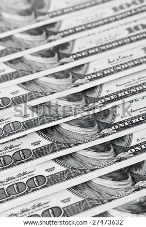 Ordered 100 Dollars Bills. Focus at the Front. - stock photo