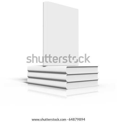 Ordered stack of books, isolated at white background