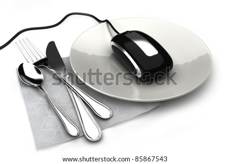 Ordering food online, concept with mouse on a plate ordering food,takeout or groceries online. On a white background