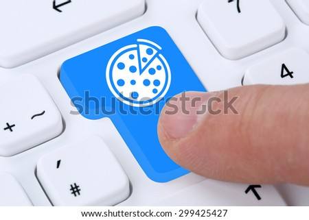 Ordering pizza online fast food order delivery fastfood internet on computer
