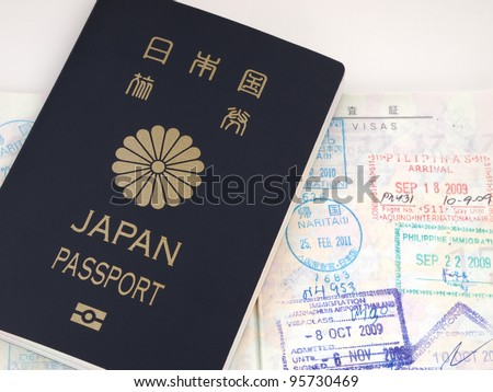 Ordinary Japanese Passport and Stamps of Immigration