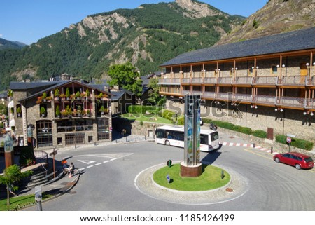 Ordino, Andorra: September 11, 2018: City view of Ordino, the most northerly parish in the Principality of Andorra. #1185426499