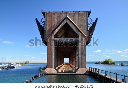 ore dock, Marquette, MI - stock photo