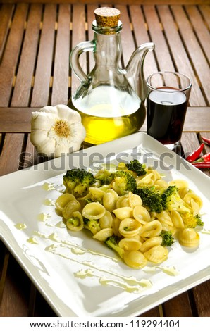 Orecchiette with broccoli with ingredients, italian pasta