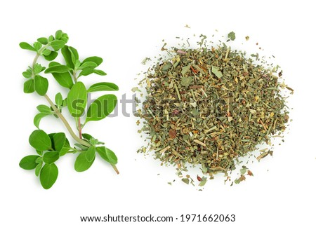 Oregano or marjoram leaves fresh and dry isolated on white background with clipping path. Top view. Flat lay Stock photo ©