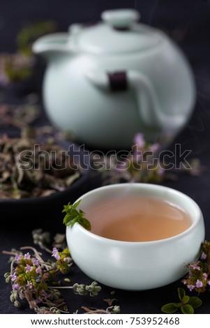 oregano tea with oregano blossoms #753952468
