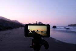 Oregon Coast Sunset as seen through an iphone on a tripod.