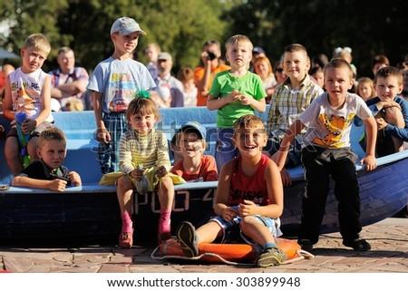 Orel, Russia, August 01, 2015: Mumu Fest, Turgenev\'s story art-festival, childrens laugh