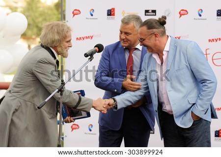 Orel, Russia, August 01, 2015: Mumu Fest, Turgenev\'s story art-festival, Turgenev (actor), mayor of Orel Sergey Stupin, Yuri Grymov