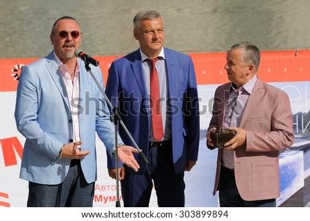 Orel, Russia, August 01, 2015: Mumu Fest, Turgenev\'s story art-festival, Yuri Grymov (film Director), Sergey Stupin (mayor of Orel), Valery Miheev (sculptor)