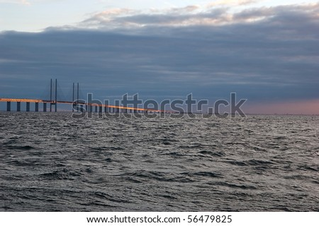 Oresund bridge at sunset - from the swedish side over to Denmark