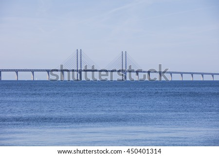 Oresund Bridge,oresunds bron, bridge on the sea ,architecture landscape in sweden #450401314