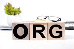 ORG text on wooden cubes. on white background