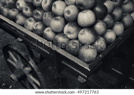 organic apples stacked in...