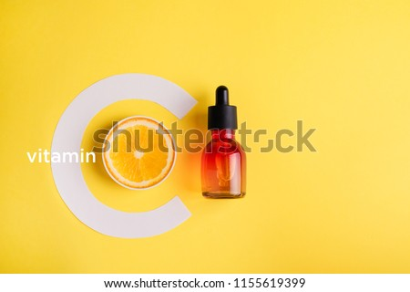 Organic bio cosmetics with vitamin C. Homeopathic oils , dietary supplements. The concept of Minimalism Flat lay