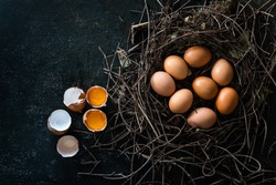 organic chicken eggs in  nest are one of the food ingredients on the restaurant table in the kitchen to prepare for cookingwith copy space. Organic chicken eggs food ingredients concept