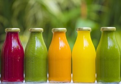 Organic cold-pressed raw vegetable juices in glass bottles