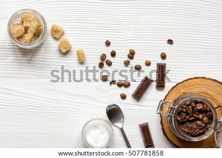 Organic cosmetics based on coffee top view wooden background #507781858