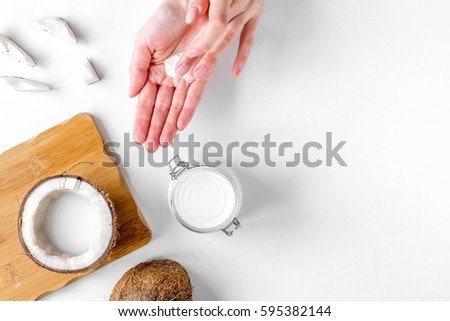 Shutterstock organic cosmetics with coconut on white background top view mockup