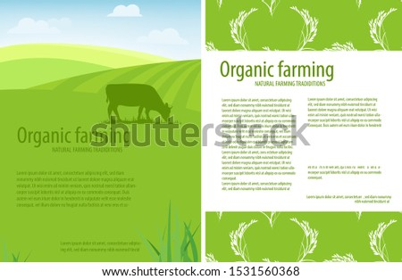 Organic farming. Natural farming traditions. Rural landscape, farm animals and design elements. Agricultural template