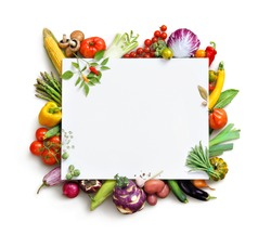 Organic food background and Copy space. Food photography different fruits and vegetables isolated white background. High resolution product