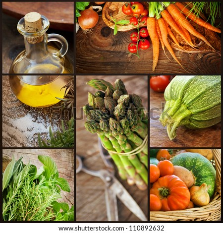 Organic Food concept. Collage of ffresh vegetables.  Natural wood with freshly harvested vegetables: tomato, courgette, herbs, spices, olive oil, asparagus and carrots.