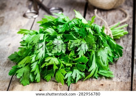 Shutterstock organic fresh bunch of parsley closeup on a wooden rustic table