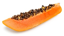 Organic Fresh Ripe Papaya, Thai tropical fruit sliced in long piece isolated on white background. Clipping path.