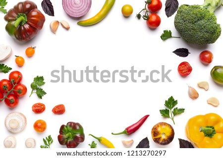 Organic fresh vegetables frame on white background, top view, copy space