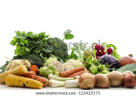 Organic fresh vegetables from a bio-garden, isolated on a white background.