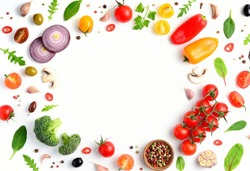 Organic fresh vegetables, spices and herbs frame on wooden white background. Copyspace, top view.