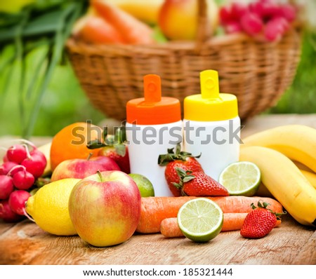 Organic fruits and vegetables rich with natural vitamins