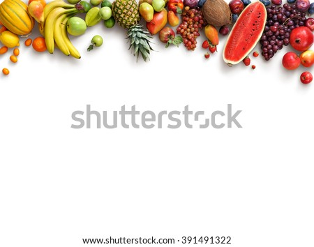 Organic fruits background. Food photography different fruits isolated white background. Copy space. High resolution product