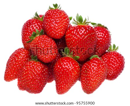 Organic garden strawberry on white background