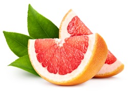 Organic grapefruit isolated on white background. Taste grapefruit with leaf. Full depth of field with clipping path