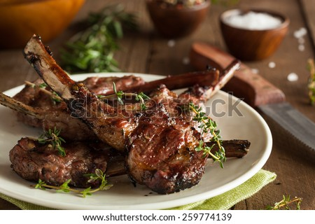 Organic Grilled Lamb Chops with Garlic and Lime #259774139