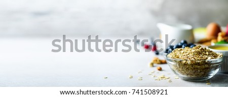 Organic ingredients for healthy breakfast - berries, milk, egg, oatmeal on grey concrete background. Copy space. Healthy food concept. Banner