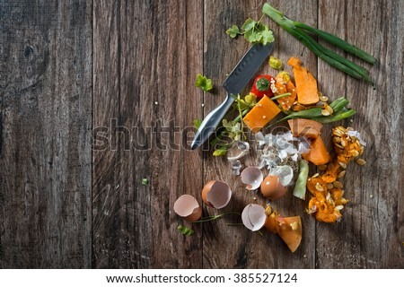 Organic leftovers, waste from vegetable ready for recycling and to compost. Collecting food leftovers for composting. Environmentally responsible behavior, ecology concept. Some negative space.