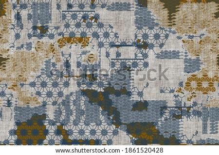 Organic neutral   textures, Watercolour collage print Japan folk pattern. Organic textile. Japanese natural texture. Indigo batik.