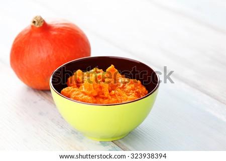 organic orange pumpkin puree ingredient for baking - fruits and vegetables